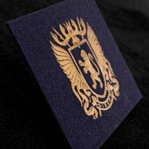 gmund power blue cotton business card with gold foil stamping