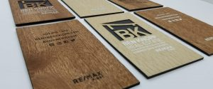 laser etched wood business cards