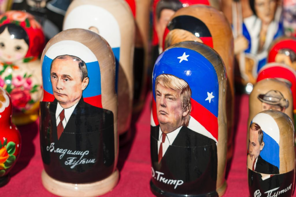 Print Online Best Donald Trump nesting dolls on red textile
