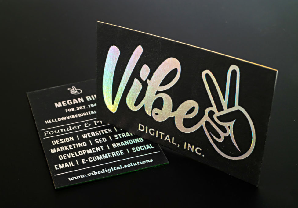 holographic business cards foil stamped