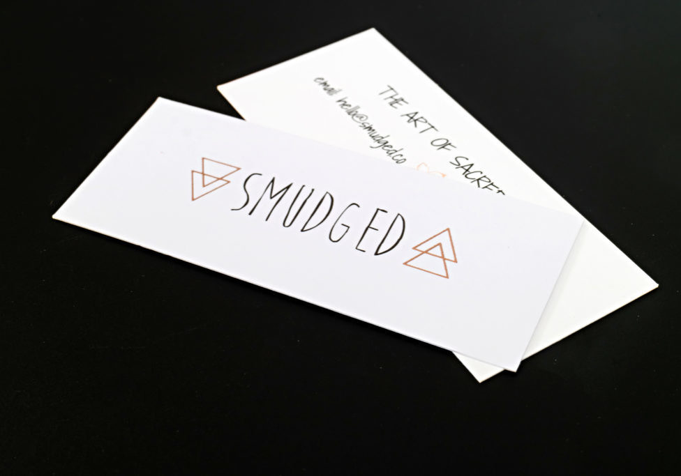 mini business cards with rose gold foil
